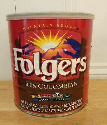 Vintage Folgers Colombian 2 LB Pound Metal Coffee Tin with Lid