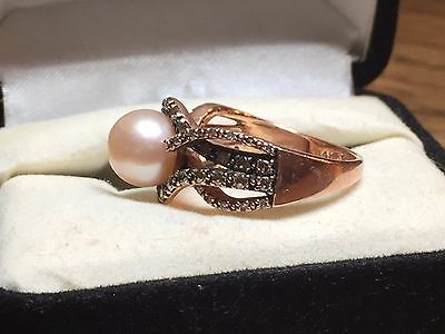 LeVian womens Chocolate Diamond Rose Gold Tahitian Pearl ring $2300 size 6.5