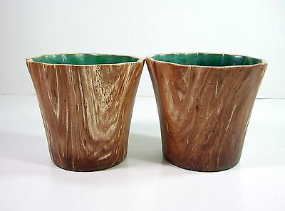 1950s PINE SCENTED Pair 2 Planters Brown Grain ROMCO USA Colorado Art Pottery
