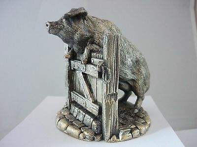 Stunning Large Vintage Sterling Silver Pig On A Gate By Country Artists