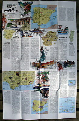 Spain and Portugal National Geographic Map / Poster October 1984