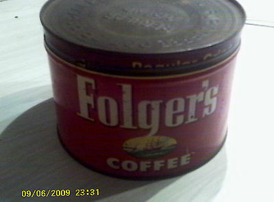 Vintage Metal Folger's Coffee Can with Lid and Key