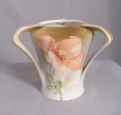 RS Germany Hand Painted Tyg Toothpick Holder Peach Rose Three Handled