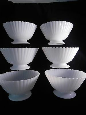 Macbeth-Evans Petalware/Monax SIX Translucent White Footed Bowls Sherbert Dishes
