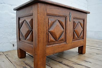 Antique French Solid Oak Breton Period Style Small Coffer / Chest