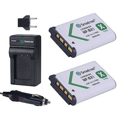 Smatree Replacement Battery(2-pack) + Battery Charger for Sony NP-BX1 NP-BX1/M8