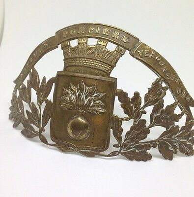A French Antique, Brass, Fireman's Helmet, Pompiers Badge Crest Ww1
