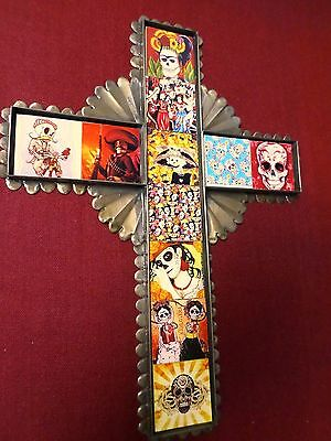 "Mexican Folk Art 15"" Punched Tin Tile Cross Day of Dead Frida Catrina Skull"