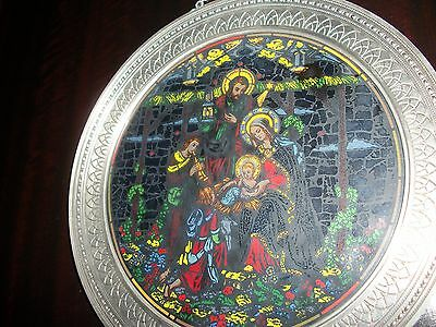 Stained Glass Hanging Plate Circled with Pewter of the 'HOLY FAMILY' Icon Signed