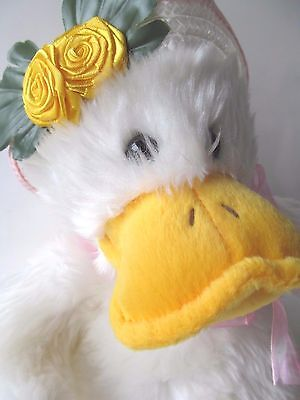 """NEW """"Miss Ducky"""" White Duck Plush Toy Straw Hat with Yellow Rose Trim 10"""" Tall"""