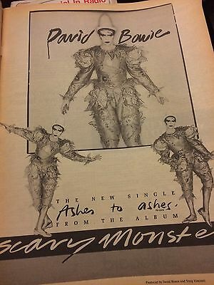 """David Bowie """"Ashes To Ashes"""" Single Billboard Ad From September 1980"""