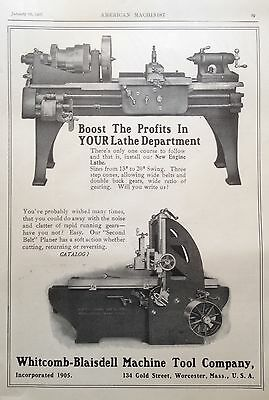 Antique 1907 Ad(E24)~Whitcomb-Blaisdell Machine Tool Co. Worcester, Mass.