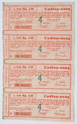 Lottery Coupon Rp 2.5 X 4 for Social Aid, Indonesia 1957/58