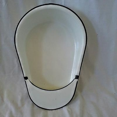 Vintage Enameled handled Metal Hospital Bed Pan White w/ Black Trim Chamber Pot