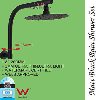 "AFFORDABLE BLACK  8"" Round Shower Head Brass Swivel Gooseneck Wall Arm Set WELS"