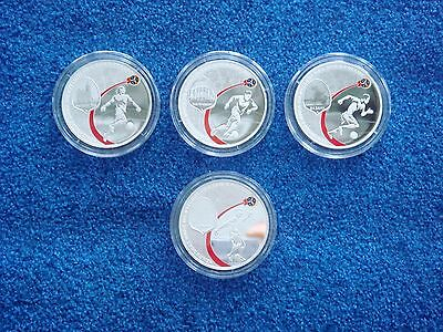 Russia, 3 rubles, 2017, 4 coins Set, 2018 FIFA World Cup, Football, Proof, New