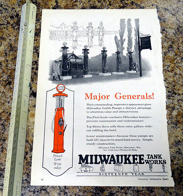 Miwaukee Tanks Works Visible Gas Pump Color Magazine Ad - 90 - FREE SHIPPING