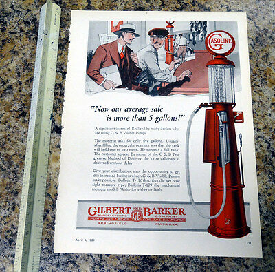 Gilbert & Barker T176 Visible Gas Pump Color Magazine Ad - 111 - FREE SHIPPING