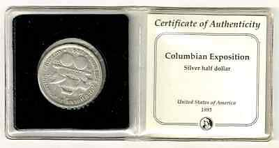 Liquidation!1893 (Double Punched Date)Columbian Expo Silver Half Dollar with COA