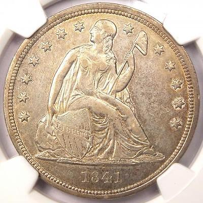 1841 Seated Liberty Silver Dollar $1 - NGC AU Details - Rare Early Date Coin