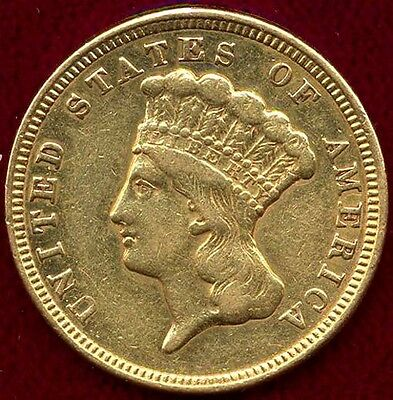 1856 Us $3 Gold    Xf  Cleaned