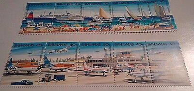 Bahamas 634 and 635. Two strips of 5. MNH