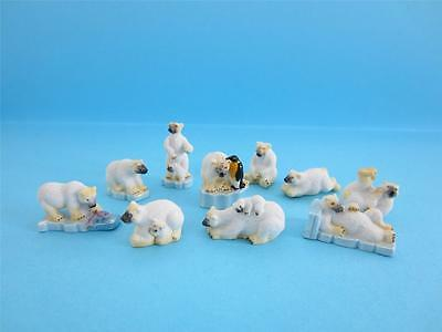 Retired Amazing Miniature Porcelain, Polar Bear, Penguin Figurine, 2011 V/nice