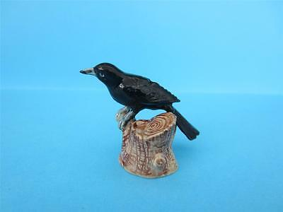 New 2013 Amazing Black Bird/crow Standing On Stump Figurine Popular *mint*