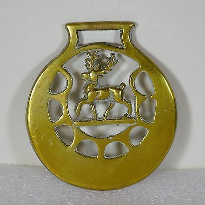 Vintage Reindeer Equestrian Horse Brass Medallion Collecitble, Deer with Antlers