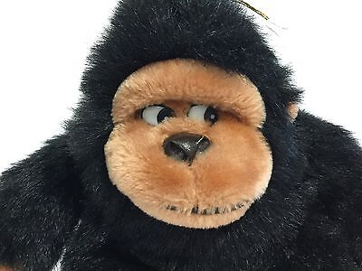"Nanco Plush Gorilla Stuffed Monkey Ape Brown Black Vintage Toy 10 "" Tush Tag"