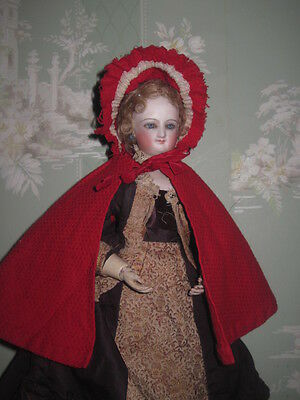 Sale! Charming Antique French Fashion Doll Red Cape For Huret Or Rohmer Poupee!