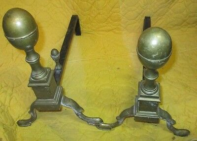 Solid Brass Pair  Colonial Style Andirons Hallmarked Cray 1940's CAST fire dogs
