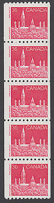 Canada - #953  36c Parliament Buildings Coil Strip Of Five - MNH