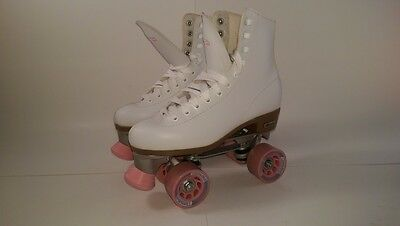 Chicago Skates Women's/Ladies' Rink Roller Skates - Size 8 - White with Pink
