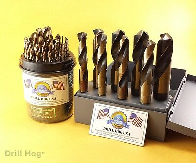 Drill Hog USA 37 Pc Cobalt Drill Bit Set BB Index M42 1/16 - 1 Lifetime Warranty