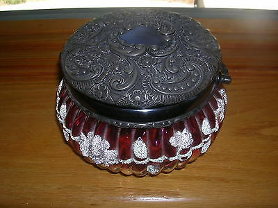 Antique Victorian Cranberry Glass Powder Jar With Glass Beads & Repousse Top