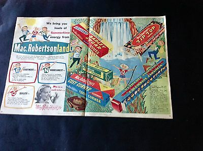 1960 Lovely Vintage Colour Orig Large Double Page Size Add for MacRobertson's