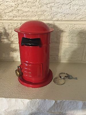 English Post Letter Box Red Pillar Money Bank 1850 Tin Toy remake