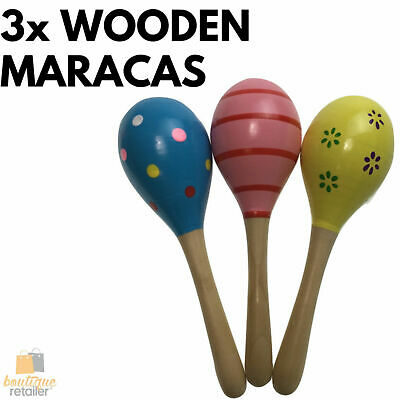 3x WOODEN MARACAS Musical Egg Percussion Toy Shakers Rattles Rumba Party New