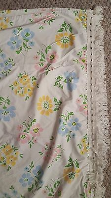 Vintage 1960's Twin Bed Coverlet - Floral with Fringe