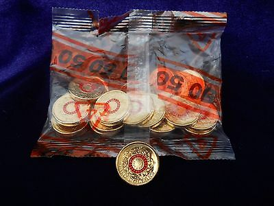 Red 2015 'ANZAC' $2 Coins. $50 worth (25 coins).