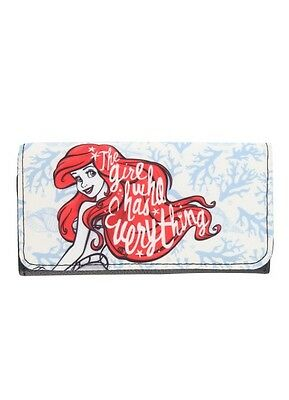 Disney The Little Mermaid Ariel Coral Canvas Trifold Flap Wallet New With Tags!