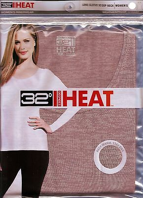 Womens Thermal Underwear 32 Degrees Heat Long Sleeve Shirt COLOR mocha space dye