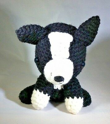 Black & White Amigurumi Stuffed Knitted Puppy Dog - Handmade Stuffed Animal