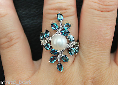 New Sz7 8mm White Pearl & Blue Topaz & White Topaz Cocktail Ring Silver SS