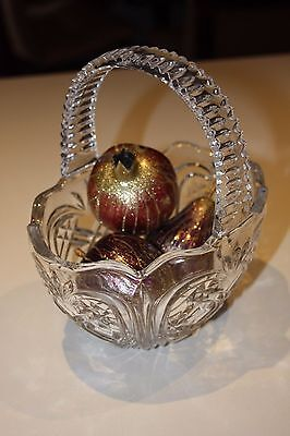 Crystal Glass Basket Decorative Dish + 3 Decorative Glitter Fruit Display Pieces