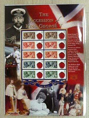 The Accession of King George V - Smiler Sheet by Buckingham Covers - MNH.