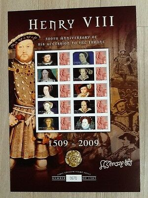 Henry VIII 500th Anniversary of his Accession to the Throne. Smiler Sheet. MNH.