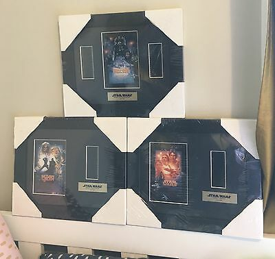 3 x Star Wars movie cells, framed with COA - still wrapped, as new.
