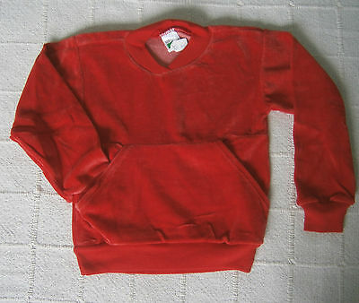 Vintage Baby Velour Jumper - Age 4-5 Years - Red - Cotton/Nylon - New